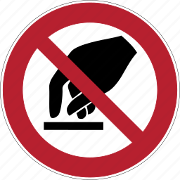 danger, hand, hans, monitor, screen, touch, warning icon
