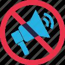 ban, forbidden, mute, prohibition, speaker, volume