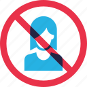 female, forbidden, girls, prohibition, warning icon