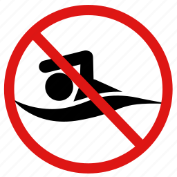 banned, danger, no, prohibited, swim, swimming icon