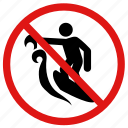 danger, no surfing, prohibited, surfing icon
