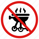 banned, barbecue, barbeque, no barbecues, prohibited icon