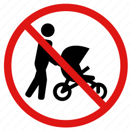 child carriers, no prams, no strollers, prohibited icon
