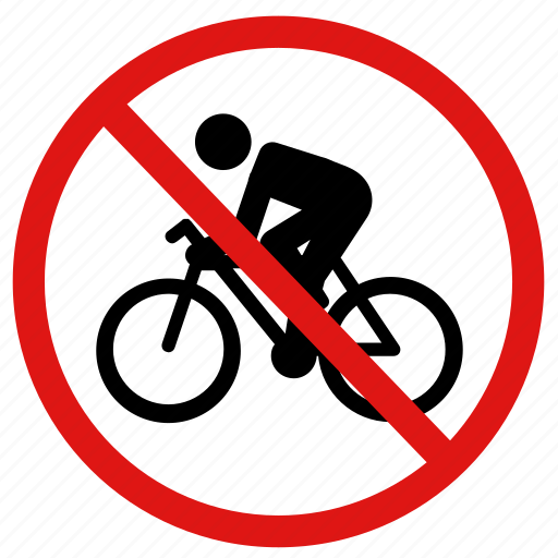 no bicycles, no bikes, no cyclists, no riding icon