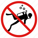 no diving, no scuba diving, no swimming, no underwater icon