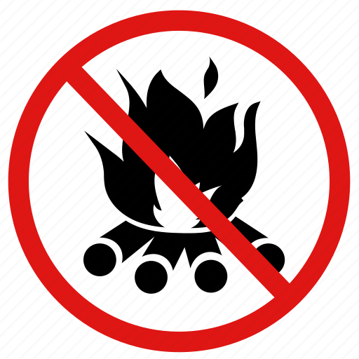 ban, campfires, fires, no fire, prohibit icon