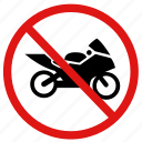 ban, bikes, no motorbikes, prohibit icon