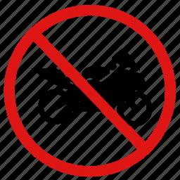 ban, bikes, no motorbikes, prohibit icon