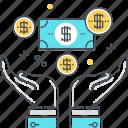 payroll, raining money, money, wealth, income, salary, hands icon