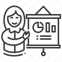 female, flipboard, graph, project presentation icon