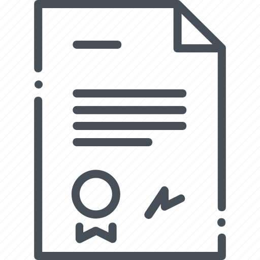 business, commerce, contract, document, isolated, paper, signature icon