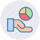 analysis, chart, hand, market, pie, pie chart icon