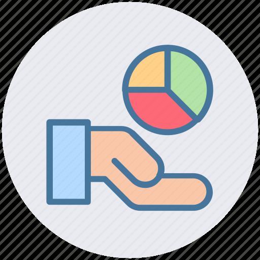 analysis, chart, hand, market, pie, pie chart icon