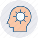 brain gear, brainstorming, gear, head, head gear, strategy icon