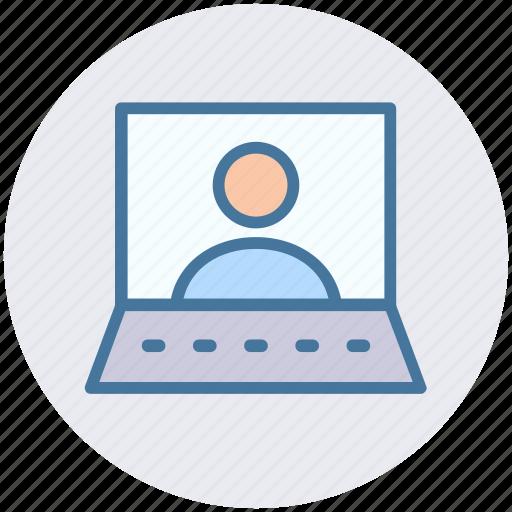 businessman, computer, laptop, profile, video chat icon
