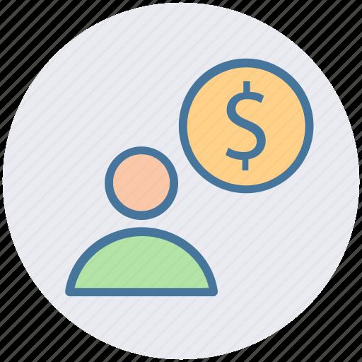 accounting, banking, businessman, dollar, finance, user icon