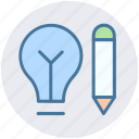 bulb, creative, idea, pencil, pencil bulb, writing icon