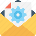 cogs, cogwheel, envelope, file, settings icon