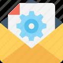 cogs, cogwheel, envelope, file, settings