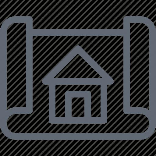 architectural project, blueprint, construction map, construction plan, house plan icon