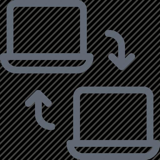 data exchange, data share, monitor, synchronization, wireless sharing icon