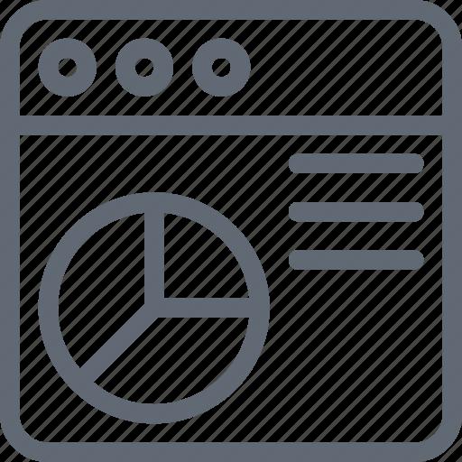online graph, pie chart, seo performance, web analytics, webpage icon