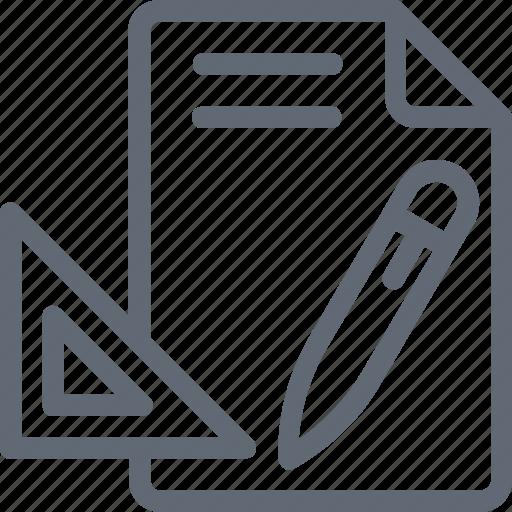 Blueprint, pencil, draft, drawing, drafting icon