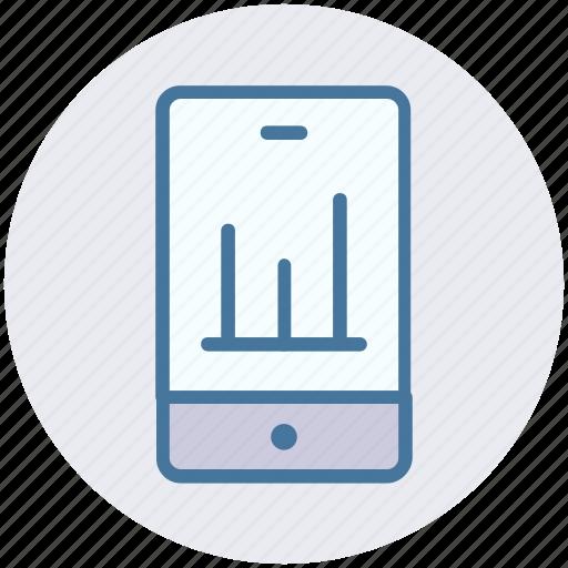 analysis, analytics, business phone, graph, mobile, mobile graph icon