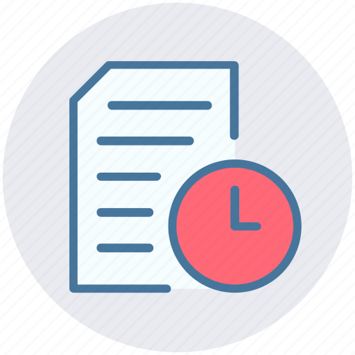 clock, document, page, sheet, time icon