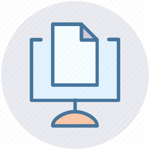 computer sheet, doc, paper, print, screen page icon