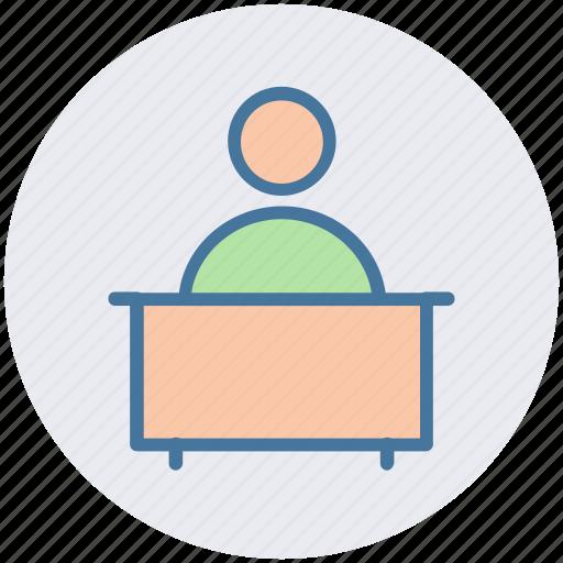 businessman, conference, interview, lecture, public speaker, speech icon