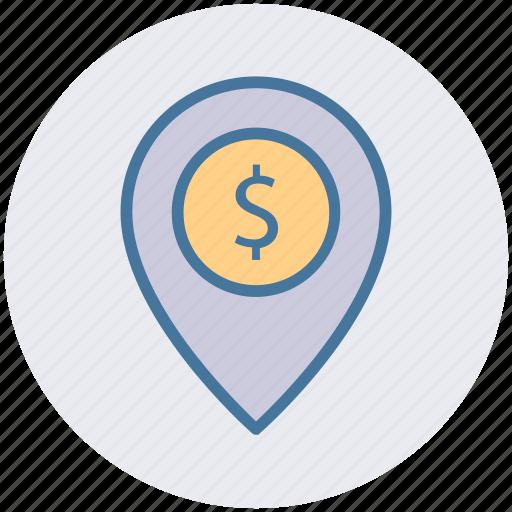 dollar, dollar navigation, gps, location, location pin, navigation icon