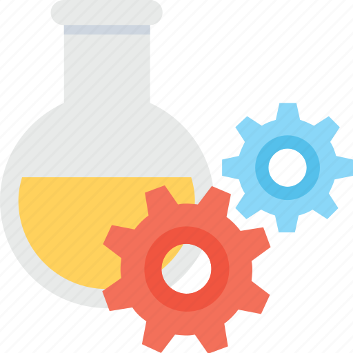 cogs, experiment, flask, lab flask, research icon