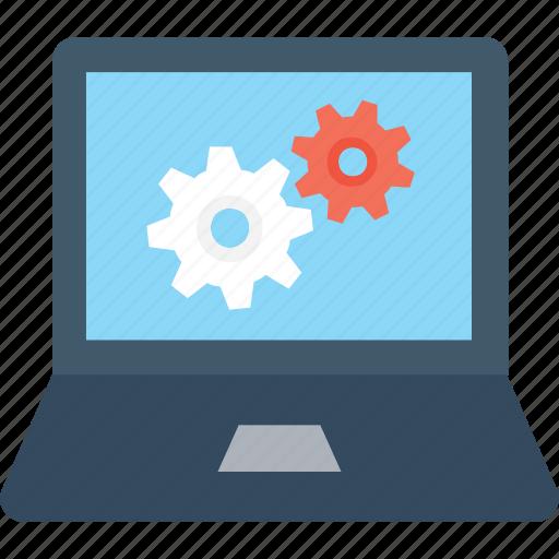 cogs, cogwheel, laptop, preferences, settings icon