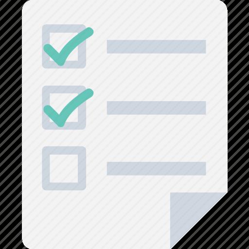 checklist, documents, file, task, tick icon