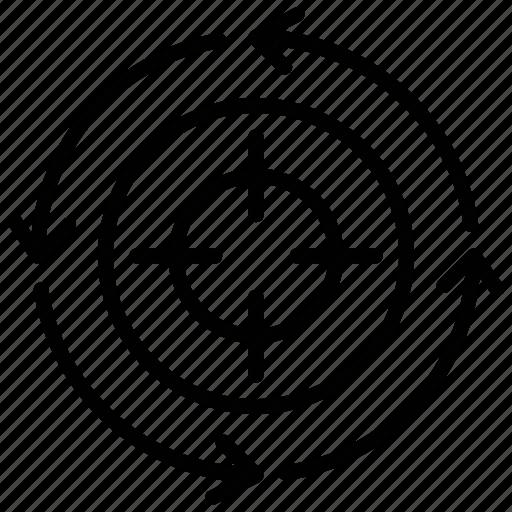 aim, dartboard, focus, target, targeting process icon