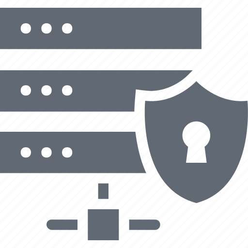 Server security, network security, secure database, data protection, shield icon