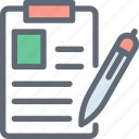document, notes, paper, pencil, writing, writing pad icon