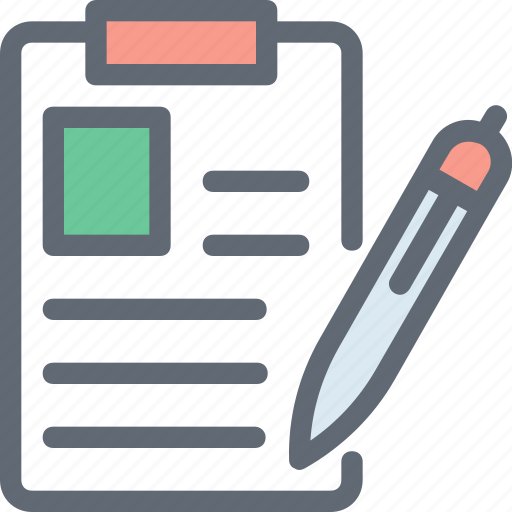 Pencil, notes, writing, paper, writing pad, document icon