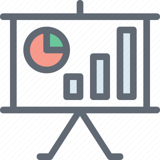 analysis, analytic, business chart, business presentation, projection screen icon