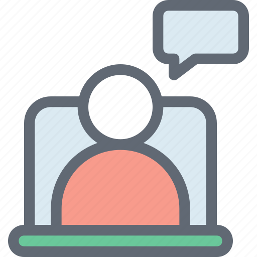 chat bubble, laptop, online chat, online support, video call icon