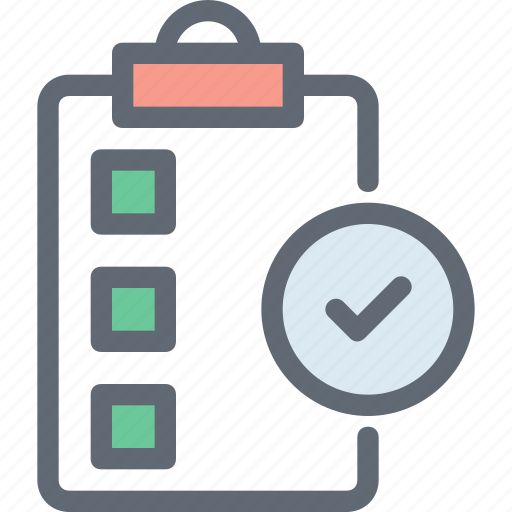 Task complete, checkmark, document, file, verified document icon