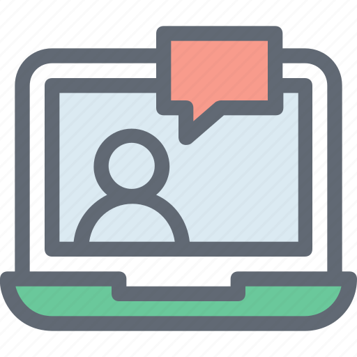 chat support, laptop, live chat, network, server icon