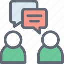 communication, discussing, speech bubble, talking, users icon
