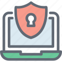 encryption, laptop, laptop access, laptop security, shield icon