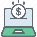 dollar, e commerce, online business, online job, online work icon