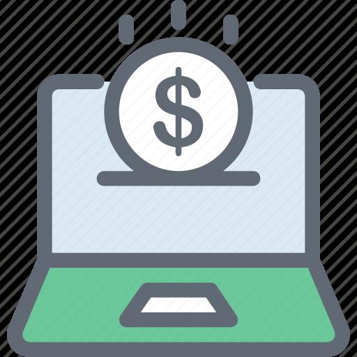 dollar, e commerce, online business, online job, online work icon