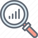 analysis, analytics, infographic, magnifier, search graph icon
