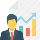 business report, businessman, graph report, report, statistics icon