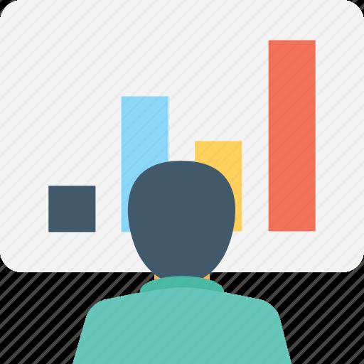 bar chart, businessman, economist, graph presentation, presentation icon